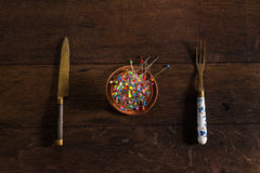 Szpilki, rozwidlenie i nóż, Zdjęcia Stock