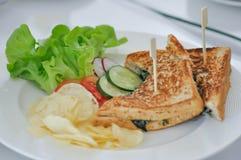 Szpinak kanapka lub jarzynowa kanapka obrazy stock