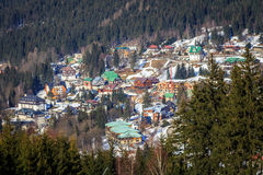 Szpindleruv Mlyn view. View of Karkonosze in Czech Republic, Spindleruv Mlyn. Ski lift and the mountains Stock Image