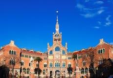 Szpital Święty Saint Paul w Barcelona i krzyż Fotografia Royalty Free