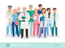 Szpital drużyna odizolowywająca na białym tle ilustracji