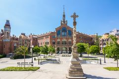 Szpital krzyż De Los angeles Santa Creu Święty Saint Paul i ja Sant Pau, Barcelona, Hiszpania Zdjęcie Royalty Free