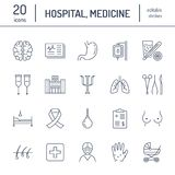 Szpital, medyczne mieszkanie linii ikony Ludzcy organy, żołądek, mózg, grypa, onkologia, chirurgia plastyczna, psychologia, pierś royalty ilustracja