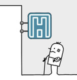 szpital raniący mężczyzna znak royalty ilustracja