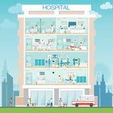 Szpitalna budynek powierzchowność z lekarką i pacjentem royalty ilustracja