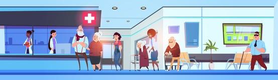 Szpitalni Hall Wewnętrzni pacjenci, lekarki W kliniki poczekalni Horyzontalnym sztandarze I ilustracja wektor