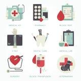 Szpitalny i medyczny płaski ikona set Obrazy Royalty Free