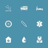 Szpitalnych zdrowie Wektorowa ikona Ustawia 2 Fotografia Stock