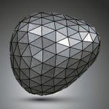 Szpotawy galwanizujący 3d abstrakcjonistyczny przedmiot, grayscale asymetryczny ilustracji