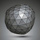 Szpotawy galwanizujący 3d abstrakcjonistyczny przedmiot, grayscale asymetryczny sph ilustracji