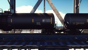 Sztachetowi cysternowi samochody z olejem na poręczach przy wschód słońca Taborowy transport tankowowie Zbiornik ciekły olej napę ilustracja wektor