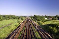 sztachetowi linii kolejowej drogi ślada Obrazy Stock