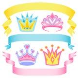 sztandarów kreskówki korony Zdjęcia Royalty Free