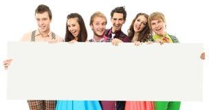 sztandarów ludzie grupowi szczęśliwi Zdjęcia Royalty Free