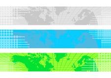 sztandarów mapy świat Fotografia Stock