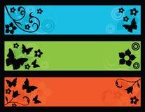 sztandarów motyle kwitną retro Zdjęcia Royalty Free