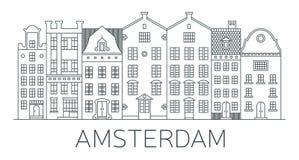 Sztandar Amsterdam miasto w płaskim kreskowym stylu Fotografia Stock