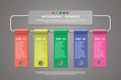 Sztandar, biznes kroczy infographics szablon Zdjęcia Royalty Free