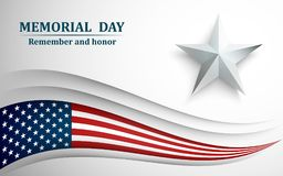 Sztandar dla dnia pamięci Flaga amerykańska z gwiazdą na szarym tle również zwrócić corel ilustracji wektora fotografia stock