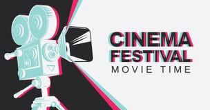 Sztandar dla kinowego festiwalu z starą film kamerą royalty ilustracja