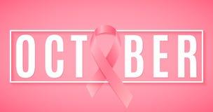 Sztandar dla nowotworu piersi Świadomość miesiąc różowa wstążka Tekst w ramie Sieć sztandar dla twój projekta Walczący nowotwór W obraz stock