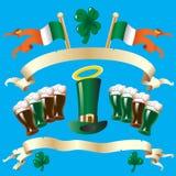 Sztandar dla St. Patricks dnia z zielonym piwem Fotografia Stock