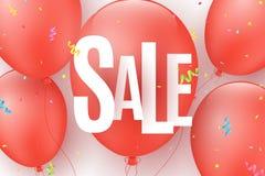 Sztandar dla super sprzedaży Latające czerwone piłki z barwiącymi confetti Papierowi chaotyczni biel listy Specjalna oferta, duzi royalty ilustracja