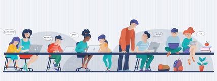 Sztandar - dzieciaki uczy się informatykę w klasie ilustracja wektor