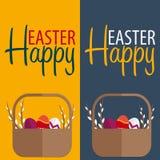 sztandar Easter szczęśliwy Tekst z wierzbą również zwrócić corel ilustracji wektora Zdjęcie Stock