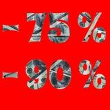 Sztandar interes w sprzeda?y z wizerunkiem dolary w?rodku -75% -90% tekst odizolowywa na czerwonym tle obraz royalty free