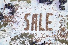 Sztandar jesieni sprzedaż lnów ziarna z dekoracyjnymi liśćmi obrazy royalty free
