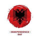 Sztandar lub plakat Albania dnia niepodległości świętowanie Machać flaga Albania, szczotkarski uderzenia tło również zwrócić core ilustracji