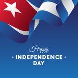 Sztandar lub plakat Kuba dnia niepodległości świętowanie TARGET516_1_ Flaga wektor ilustracji