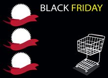 Sztandar na Black Friday Backgro i wózek na zakupy Fotografia Royalty Free