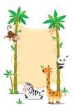 Sztandar na dwa drzewku palmowym z małymi śmiesznymi zwierzętami Zdjęcia Royalty Free