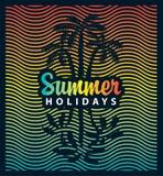 Sztandar na turystyka temacie z drzewkiem palmowym i morzem Obraz Royalty Free