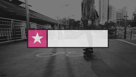Sztandar odznak guzika emblemata granicy insygni grafiki pojęcie Zdjęcia Stock