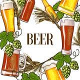 Sztandar piwna butelka, kubek, szkło, słód i chmiel, royalty ilustracja
