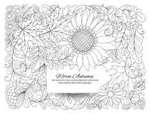 Sztandar, plakat lub zaproszenie z, jesień kwiatami, liśćmi i śliwkami, Obraz Stock