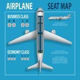 Sztandar, plakat, ulotka z samolotów siedzeń planem Biznesu i gospodarki klas odgórnego widoku samolotu informaci mapa royalty ilustracja