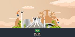Sztandar podróż Brazylia, Rio De Janeiro Plakatowa linia horyzontu również zwrócić corel ilustracji wektora Obraz Stock