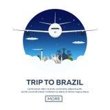 Sztandar podróż Brazylia, Rio De Janeiro Plakatowa linia horyzontu również zwrócić corel ilustracji wektora Obraz Royalty Free
