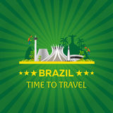 Sztandar podróż Brazylia, Rio De Janeiro Plakatowa linia horyzontu również zwrócić corel ilustracji wektora Zdjęcie Stock