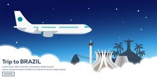 Sztandar podróż Brazylia, Rio De Janeiro Plakatowa linia horyzontu również zwrócić corel ilustracji wektora Fotografia Stock