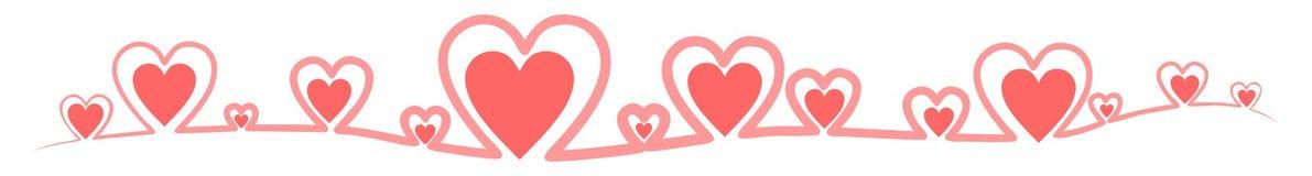Sztandar robić czerwoni konturów serca royalty ilustracja