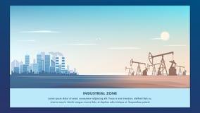 Sztandar strefy przemysłowej Ilustracyjna metropolia royalty ilustracja