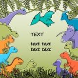 Sztandar, tło, plakat z stylizowanymi dinosaurami Zdjęcie Royalty Free