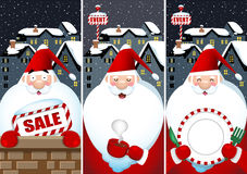 Sztandar ustawiający Święty Mikołaj przy nocą ilustracja wektor