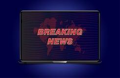Sztandar wiadomości dnia szablon w realistycznym laptopie na colour tle Pojęcie dla parawanowego kanału telewizyjnego Płaski ilus ilustracja wektor