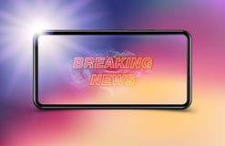 Sztandar wiadomości dnia szablon w realistycznym smartphone na ciemnym tle Pojęcie dla parawanowego kanału telewizyjnego Płaska i royalty ilustracja